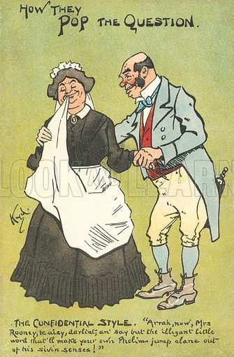 How they pop the question, the confidential style. Postcard, early 20th century.