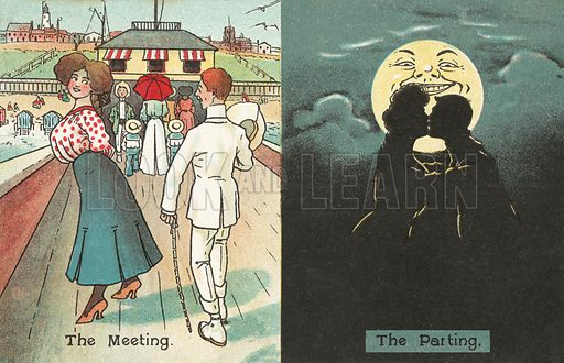 The meeting, the parting. Postcard, early 20th century.