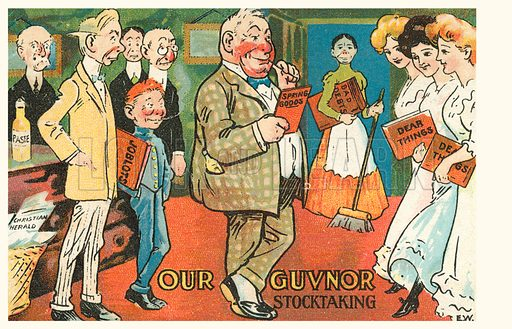 Our Guvnor Stocktaking. Postcard, early 20th century.