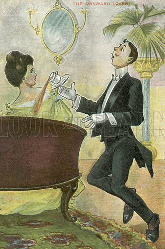 The awkward lover, dropping tea in the lap of his girl. Postcard, early 20th century.