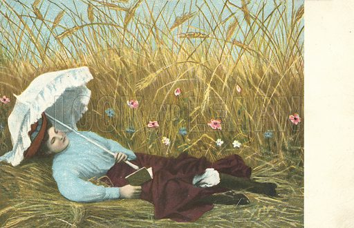 Girl reading a book in a field of wheat and wild flowers. Postcard, early 20th century.
