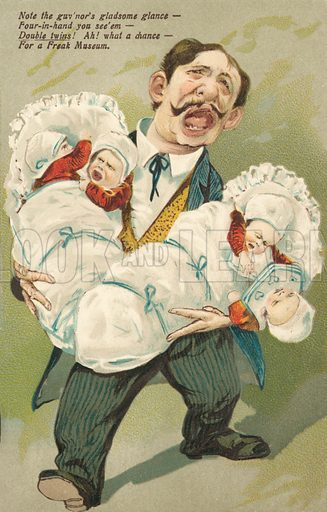 Double twins. Postcard, early 20th century.