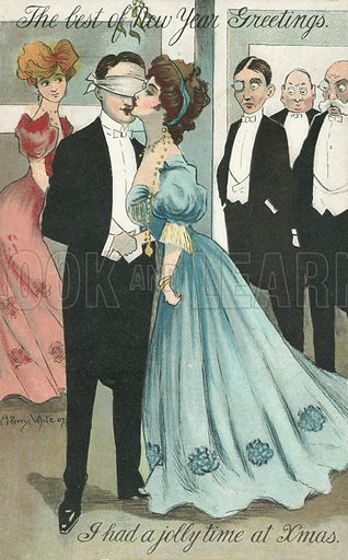 The best of New Year greetings. Postcard, early 20th century.