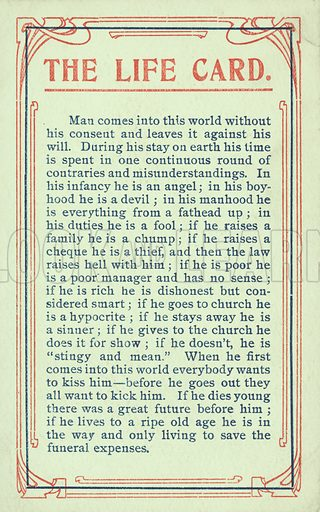 The Life Card. Postcard, early 20th century.