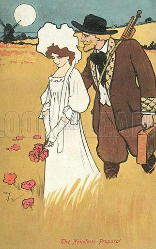 The novelette proposal. Postcard, early 20th century.