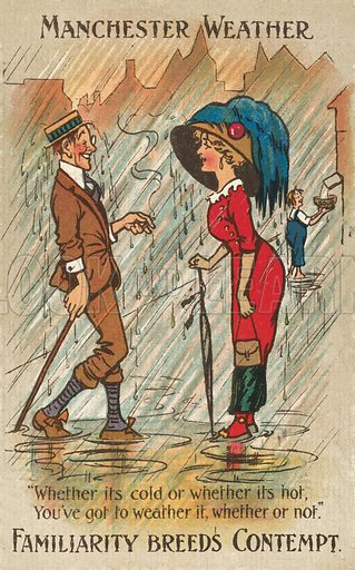 Manchester weather. Postcard, early 20th century.