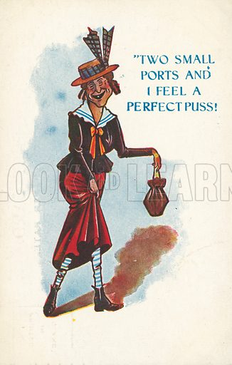 Two small ports and I feel a perfect puss! Postcard, early 20th century.