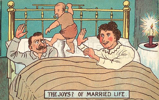 The joys of married life. Postcard, early 20th century.