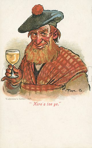 Scotsman raising a glass. Postcard, early 20th century.