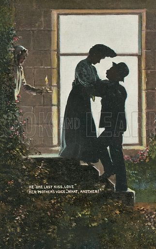 """""""One Last Kiss, Love"""" – """"What, Another!"""" Postcard, early 20th century."""