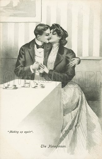 The Honeymoon, Making Up Again. Postcard, early 20th century.