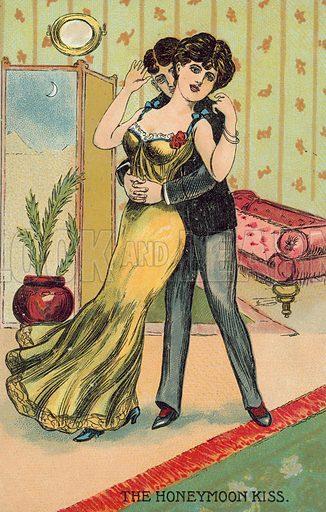 The honeymoon kiss. Postcard, early 20th century.