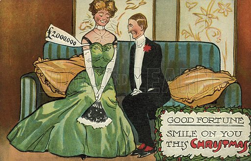 May good fortune smile on you this Christmas! Postcard, early 20th century.