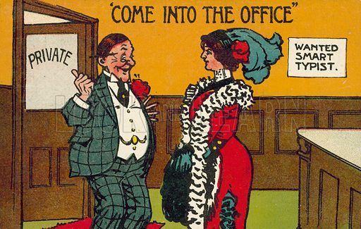 Wanted Smart Typist, Come Into The Office. Postcard, early 20th century.