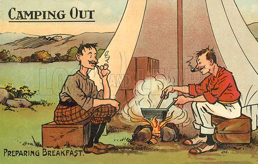 Camping Out, Preparing Breakfast. Postcard, early 20th century.