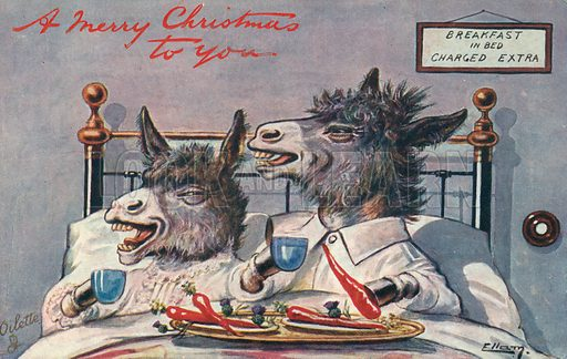 A Merry Christmas from Two Asses. Postcard, early 20th century.