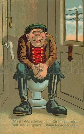 Man in the lavatory. Postcard, early 20th century.