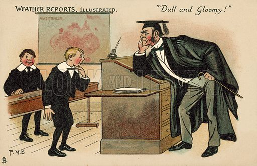 Boy facing a bad-tempered schoolmaster. Postcard, early 20th century. Signed: PKB.