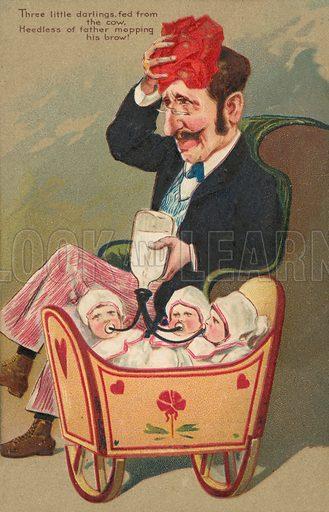 Man feeding triplets. Postcard, early 20th century.