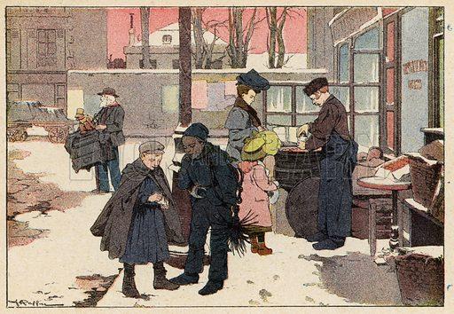 Le Marchand De Marrons, The Chestnut Seller. Illustration for Imagier de L'Enfance, Les Metiers (L Martinet, c 1895) with illustrations by Ferdinand Raffin.