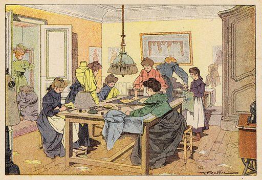 La Couturiere, The Couturier. Illustration for Imagier de L'Enfance, Les Metiers (L Martinet, c 1895) with illustrations by Ferdinand Raffin.