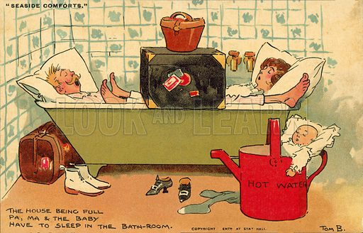 Sleeping in bath room. Postcard, early 20th century.
