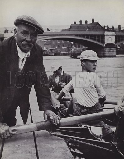 Rafts, Froggie superintends the embarkation. Illustration for Eton Portrait by Bernard Fergusson with photographs by L Moholy-Nagy (John Miles, 1937).