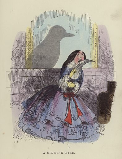 Singing Bird. Illustration for Shadow and Substance by Charles H Bennett and Robert B Brough (W Kent, 1860).