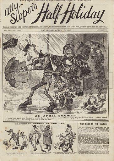 An April Shower. Illustration for Ally Sloper's Half Holiday, 17 April 1886.