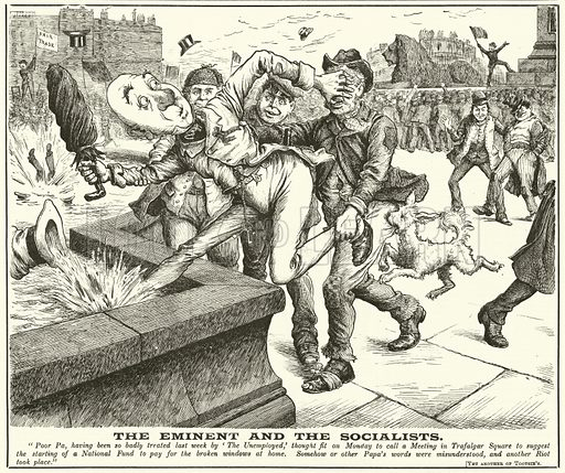 The Eminent and the Socialists. Illustration for Ally Sloper's Half Holiday, 6 March 1886. Cropped image.