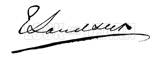 Sir Edward Landseer, signature. Illustration for The Autographic Mirror (c 1864).