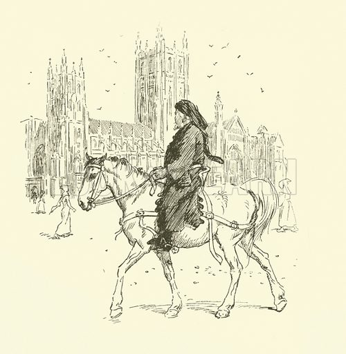 Geoffrey Chaucer on horseback. Illustration for Tales of the Canterbury Pilgrims retold from Chaucer and others by FJ Harvey Darton (Wells Gardner, c 1904).