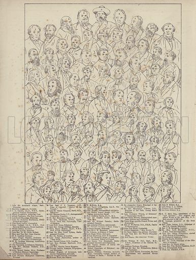 Literary and Clerical Celebrities. One of a series of groups of Victorian celebrities. Key/picture on image with following/preceding file name. Note: Pencil marks on image.