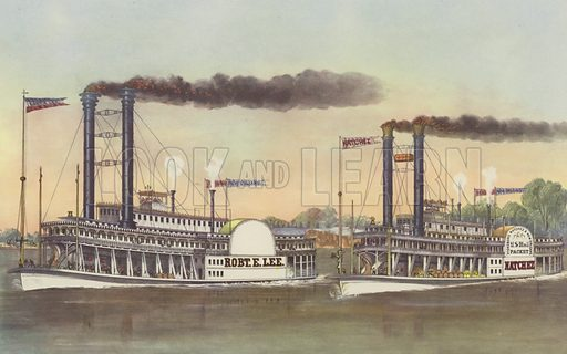 The Great Race on the Mississippi. Currier and Ives print, mid 20th century reproduction. Not suitable for repro at large size.