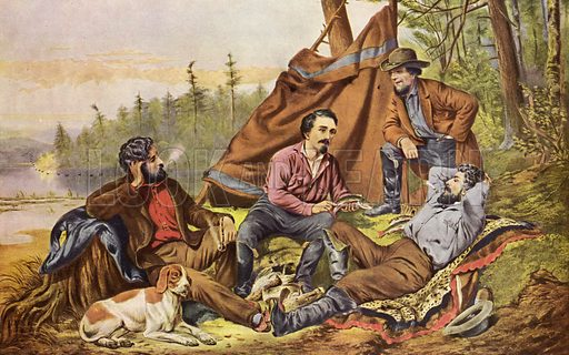 Camping in the woods. Currier and Ives print, mid 20th century reproduction. Not suitable for repro at large size.