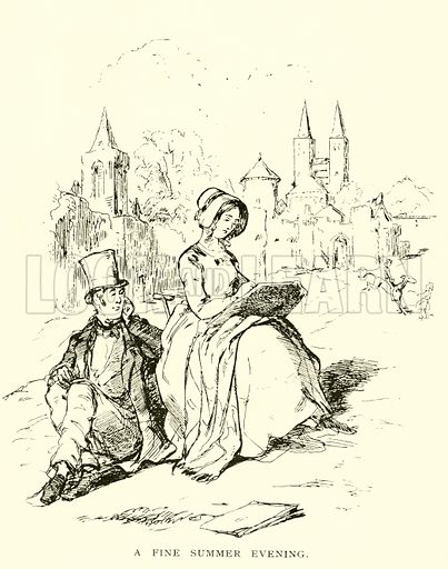 A Fine Summer Evening. Illustration for Vanity Fair by William Makepeace Thackeray (Ward Lock, c 1890).