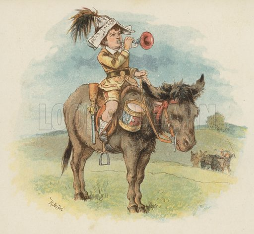 Boy on donkey. Illustration for Mother's Birthday Review by Juliana Horatia Ewing (SPCK, c 1890).