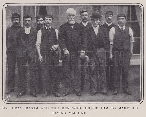 Sir Hiram Maxim and the men who helped him to make his flying machine. Illustration for Fortunes Made In Business, Life Struggles of Successful People (Amalgamated Press, 1901).