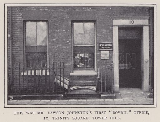 Mr Lawson Johnston's first Bovril office, 10 Trinity Square, Tower Hill, London. Illustration for Fortunes Made In Business, Life Struggles of Successful People (Amalgamated Press, 1901).