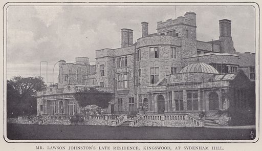 Mr Lawson Johnston's late residence, Kingswood, at Sydenham Hill.  Illustration for Fortunes Made In Business, Life Struggles of Successful People (Amalgamated Press, 1901).