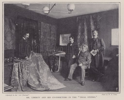 Mr Liberty and his co-directors in the trial studio. Illustration for Fortunes Made In Business, Life Struggles of Successful People (Amalgamated Press, 1901).