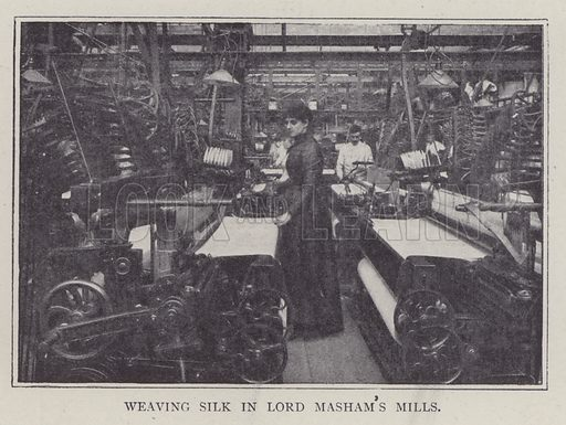 Weaving silk, Lord Masham's Mills. Illustration for Fortunes Made In Business, Life Struggles of Successful People (Amalgamated Press, 1901).