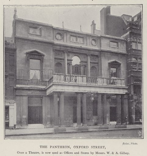 The Pantheon, Oxford Street, London, used as offices and stores by Messrs W&A Gilbey. Illustration for Fortunes Made In Business, Life Struggles of Successful People (Amalgamated Press, 1901).