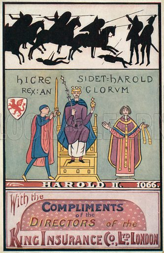 King Harold II. Illustration for one of a series of postcards depicting the kings and queens of England, published by the King Insurance Co Ltd. Early 20th century.