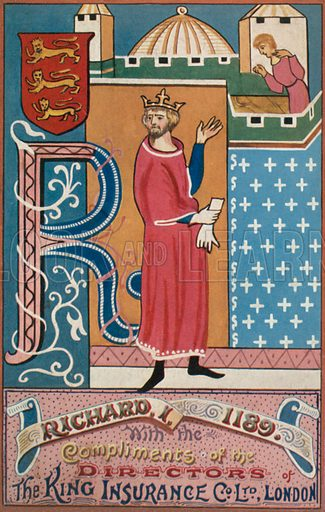 King Richard I. Illustration for one of a series of postcards depicting the kings and queens of England, published by the King Insurance Co Ltd. Early 20th century.