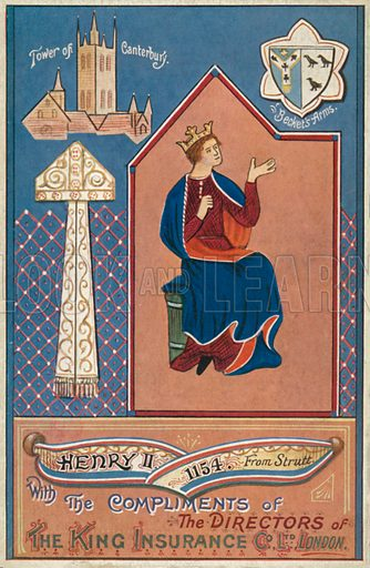 King Henry II. Illustration for one of a series of postcards depicting the kings and queens of England, published by the King Insurance Co Ltd. Early 20th century.