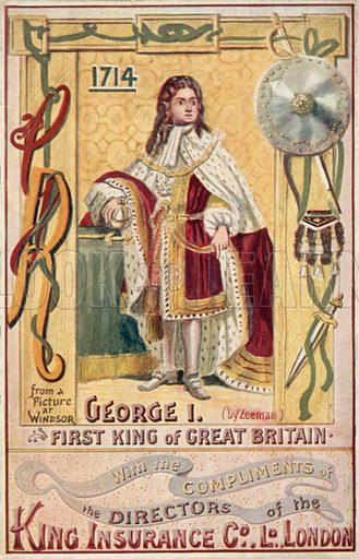 King George I. Illustration for one of a series of postcards depicting the kings and queens of England, published by the King Insurance Co Ltd. Early 20th century.