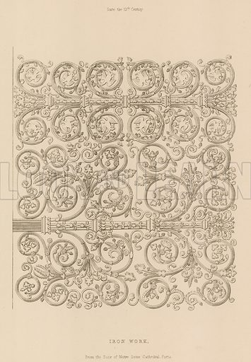 Ironwork, 13th Century, Door, Notre Dame, Paris. Illustration for The Encyclopedia of Ornament by Henry Shaw (1842).
