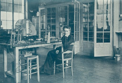 Madame Curie in her laboratory. Illustration for The Year 1913 Illustrated (Headley Brothers, 1913).