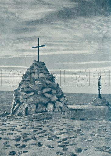 Cairn over spot where Captain Scott died. Illustration for The Year 1913 Illustrated (Headley Brothers, 1913).